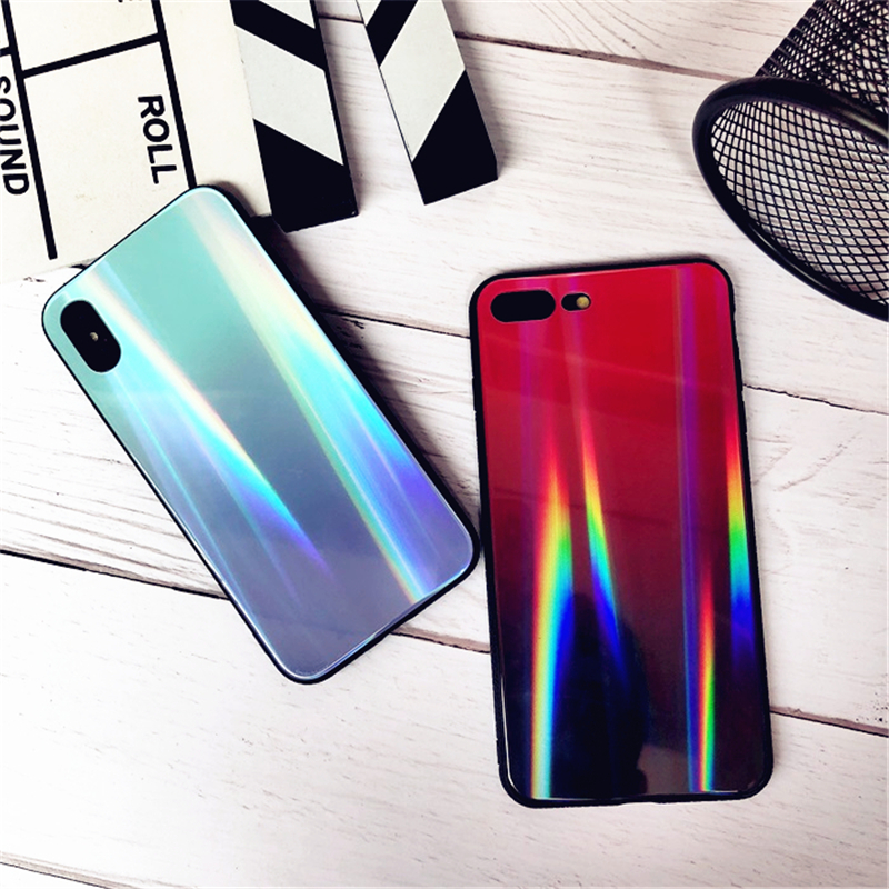 BONVAN For iPhone X 7 8 Plus Tempered Glass Back Case Gradient Color Laser Aurora Silicone Bumper For iPhone 7 6S 8 6 Plus Cover21
