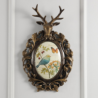 The Living Room Wall Hanging Wall Mural Deer Head Soft Outfit European American Style Retro Bedroom