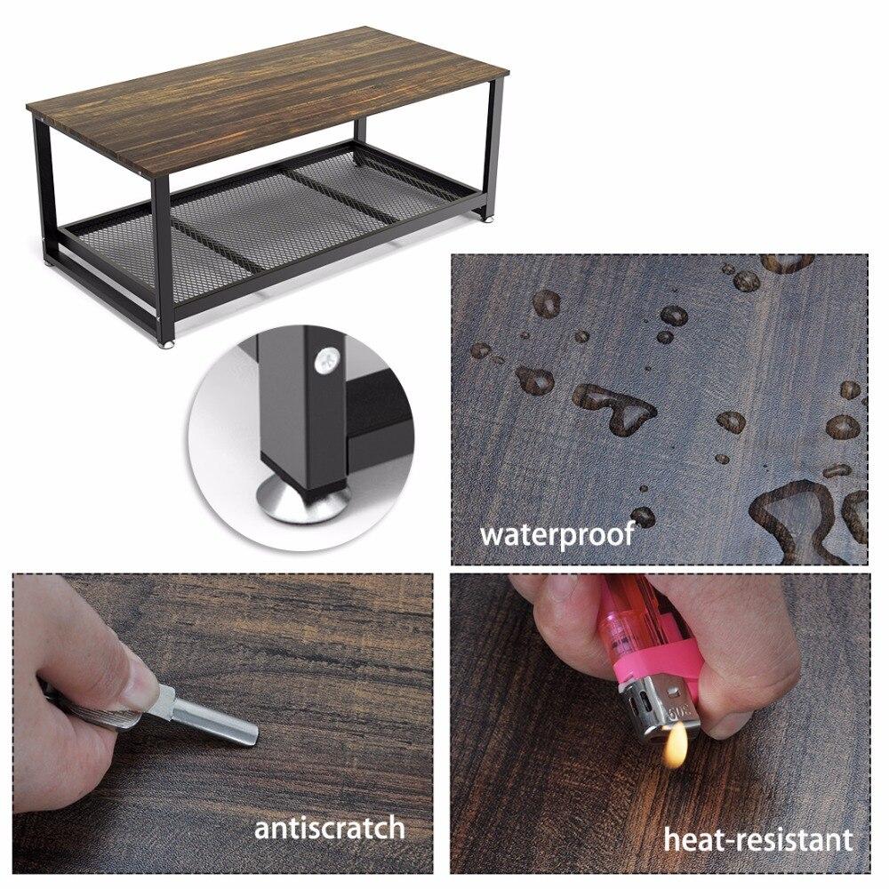 Table basse Dewel avec étagère de rangement industrielle moderne rustique 47 pouces Table basse pour salon - 5