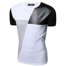 2017 New PU Leather T Shirt Men High Quality Splice short Sleeve T-Shirt Fashion Cotton Casual O-Neck hip hop Mens Tops Tee illusion mesh yoke pu leather t shirt