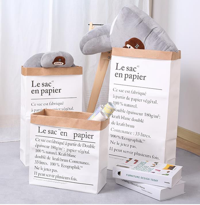 Nordic Ins Kraft Paper Storage Bag Double Layer Thickening Kraft Paper Bag Toys Home Flower Arranging Bag