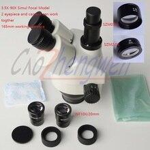 FYSCOPE 3.5X-90X Simul-Focal Trinocular Zoom стерео микроскоп головка может видеть 3 окуляра в то же время