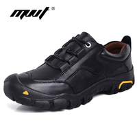MVVT Plus Size Genuine Leather Shoes Men Casual Shoes Outdoor Quality Leather Men Shoes Waterproof Non slip Men Tooling Shoes
