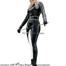 Black With White Stripes Sexy Latex Catsuit With Front Zipper Belt And Buckles Body Suit  Rubber Bodysuit Zentai LTY-0094