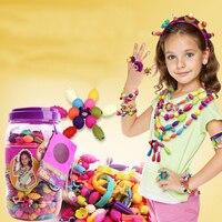 240 Sztuk DIY Kreatywne Dziewczyny Kolorowe Zroszony Naszyjnik Bransoletka Pierścień Cordless Montażu Nauka Zabawki Świąteczne Dla Dzieci Gry Zabawy Prezenty