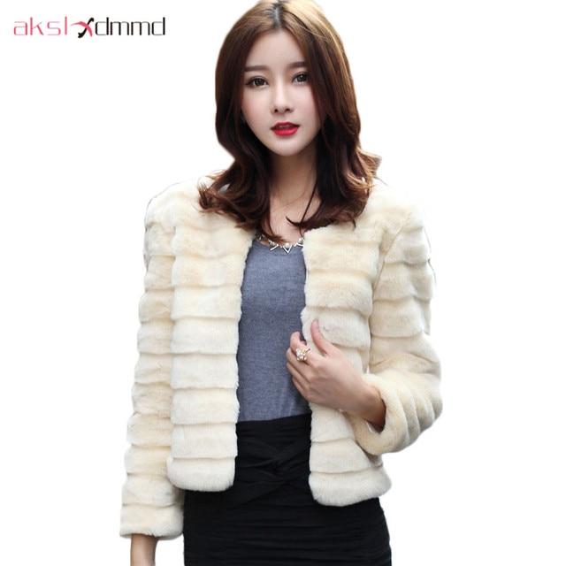 AKSLXDMMD Faux Rabbit Fur Coat 2017 New Autumn Witner Women Fashion Fur Short Plush Long-Sleeves Jacket Female Colete Pele LH984