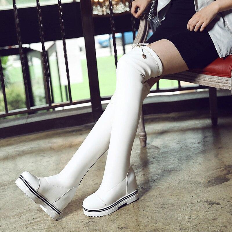 Otoño Botas blanco Hasta Negro Rodilla Plataforma Moda Invierno La 857qr8