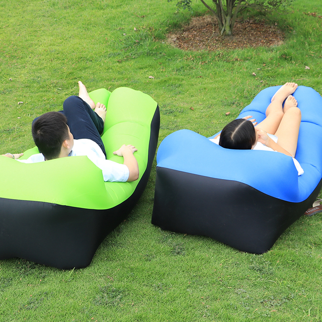 2018 New Design Outdoor Inflatable Couch Camping Furniture Sleeping Compression Air Bag Lounger Fabric Bearing 200kg