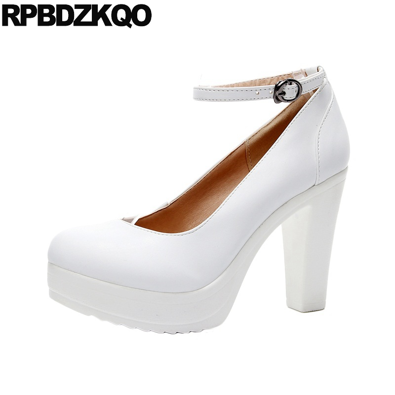Gothic 12cm 5 Inch Fetish White Women Big Size Shoes 11 43 Platform Round Toe 10 42 Pumps Super High Heels Ankle Strap Ultra sandals round toe t strap platform shoes big size women 11 43 high heels fetish thick black gothic ultra punk pumps 10 42 bar