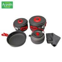 3 4 person outdoor camping cookware camp picnic free aluminum camping pot set tableware 7 pcs camping cooking set teapot