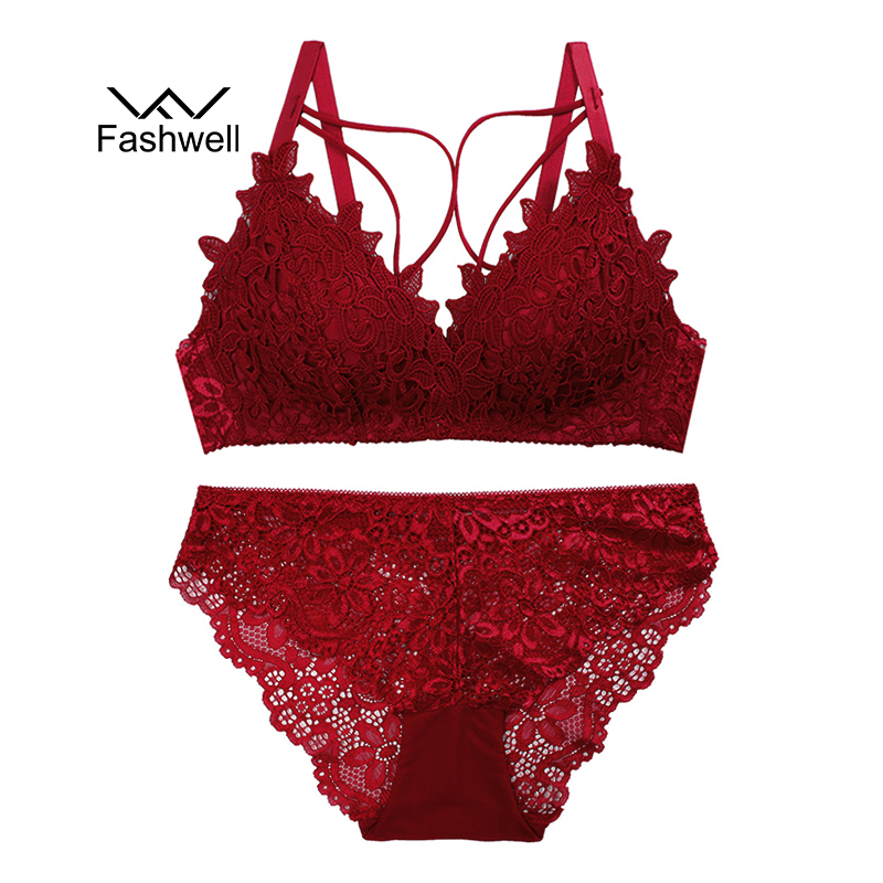 Fashwell New Fashion Lace Underwear Women Set Push Up Bra Thick Triangle Sexy Brassiere Wire Free Bras Lingerie Set