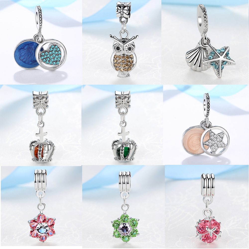 European Crown Pendant With Blue Crystal Silver Alloy Beads Charms Fit Pandora Bracelets & Bangles Necklace DIY Jewelry