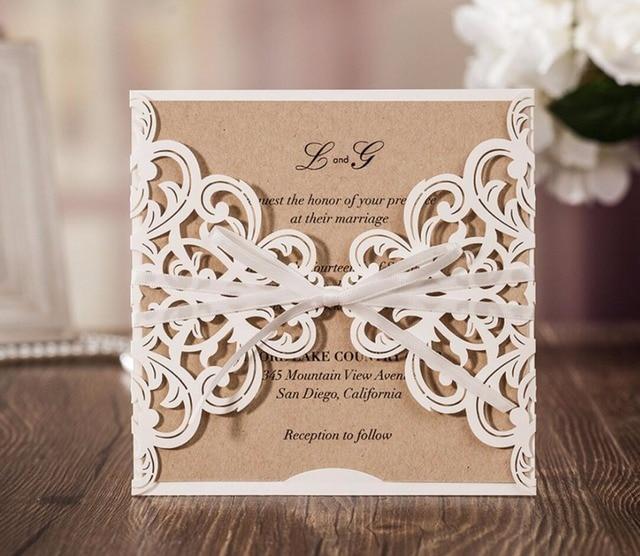 Invito Matrimonio Rustico : Rustico tema taglio laser biglietti d invito di nozze festa di