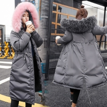 Fur Collar Thicken Warm Long Jacket Women Winter Hooded Long Coat Long Big Fur Coat Jacket Down Parka Cotton Padded Coats New недорого