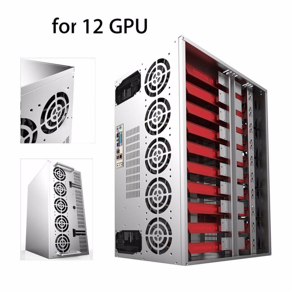 цена на Crypto Coin Open Air Mining Frame Rig Graphics Case ATX Fit 12 GPU Ethereum ETH ETC ZEC XMR Magnalium Alloy 12cm Fans