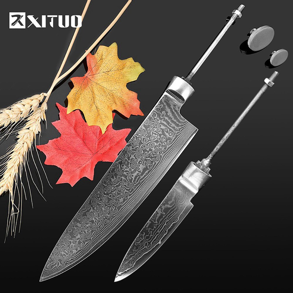 XITUO Sharp DIY chef knife Blanks 2PCS Sets 8 3.5 inch vg10 damascus steel Blade material Billet japanese knife kitchen ToolsXITUO Sharp DIY chef knife Blanks 2PCS Sets 8 3.5 inch vg10 damascus steel Blade material Billet japanese knife kitchen Tools