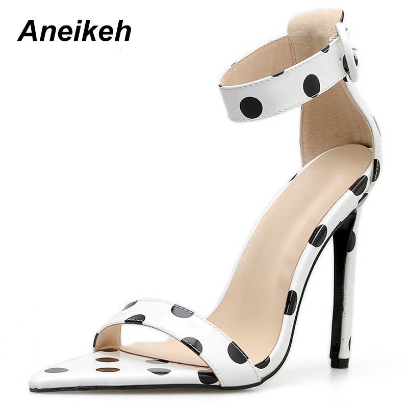 361131218fe Aneikeh 2019 de moda sandalias de PU de las mujeres de verano Zapatos de tacón  alto