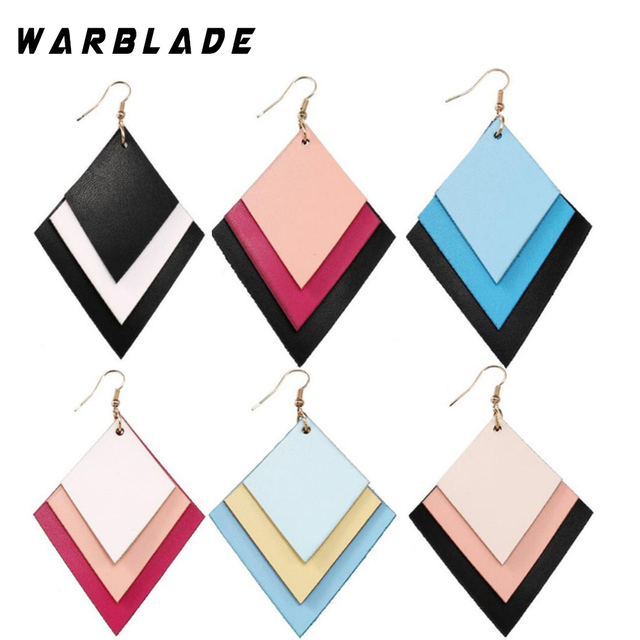 2018 New Handmade Layered Flat Leather Earring For Women Bohemia Long Drop  Dangle Earring Femme Statement b71322443ea7