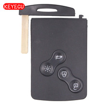 Keyecu 5PCS/lot Removable Uncut Blade New 4 Button Smart Key Card Remote Key Shell Case Fob for Renault Laguna Megane 2009-2014