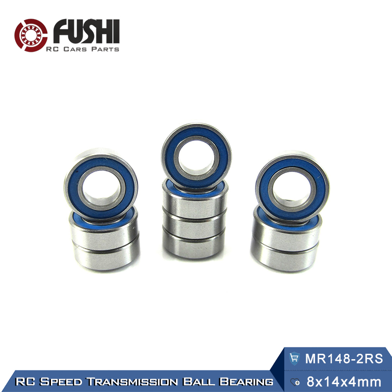 MR148RS Bearing ABEC-3 (10PCS) 8X14X4 mm Miniature MR148 - 2RS RU Ball Bearings Blue Sealed For Axial SCX10 II 1pcs 71901 71901cd p4 7901 12x24x6 mochu thin walled miniature angular contact bearings speed spindle bearings cnc abec 7