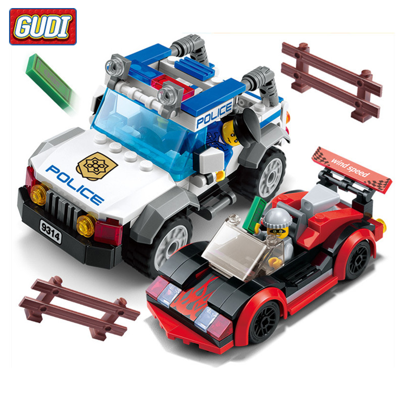 GUDI 264pcs/set City Police Speed Chase Car Blocks Toys for Children Educational DIY Assembling Bricks Block Boys Toy Brinquedos jie star police pickup truck 3 kinds deformations city police building block toys for children boys diy police block toy 20026