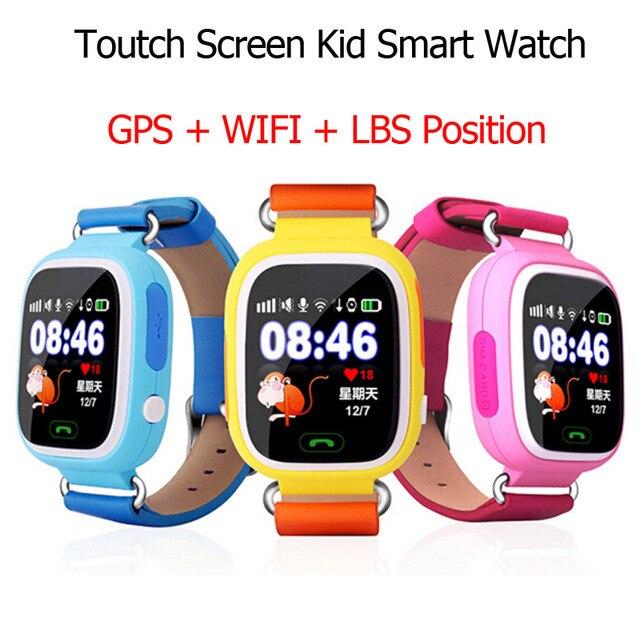 Free Shipping Q90 GPS Phone Positioning Fashion Children Watch 1.22 Inch Color Touch Screen WIFI SOS Smart Watch PK Q80 Q50 Q60