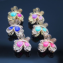 6 Pcs Hair Ornament Rhinestone claw clip Headwear Accessories Crystal Metal Hair Claw Clip for women Jewelry Crab claw hair clip