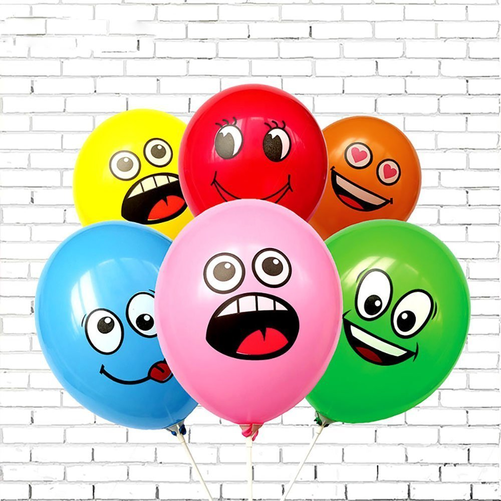 10PCs/lot Cute Printed Big Eyes Smile Inflatable Toys Happy Birthday Party Decoration Inflatable Air Ballons Balls For Kids Gift