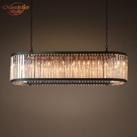Welles Crystal Clear Oval Retangular Chandelier Iluminação Moderna Lustre de Cristal Lustre Lâmpada Nórdico LEVOU Pendurado Luz