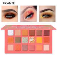 UCANBE 18 Color Living Coral Eyeshadow Palette Glitter Shimmer Matte Pigmented Eye Shadow Powder Makeup Brilliant Eyeshadow Lids