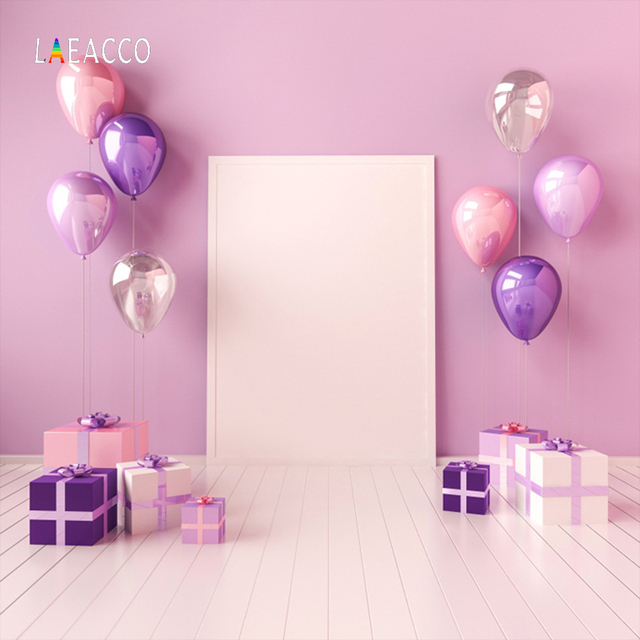 Laeacco Pink Balloons Baby Birthday Party Gift Gray Wooden Floor Portrait Photo Backgrounds Photography Backdrops
