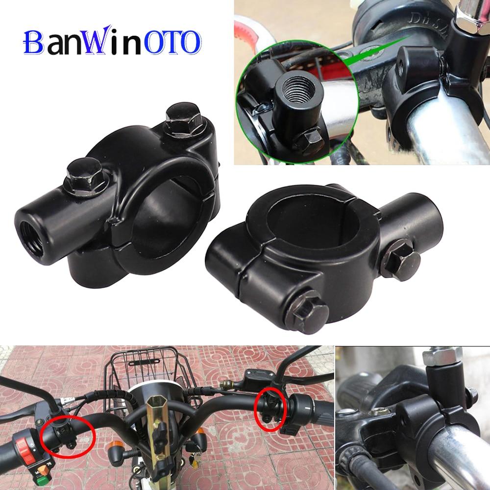 Motorcycle Noir Guidon Rétroviseur Support universel en aluminium 10 mm Pince