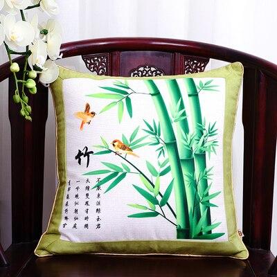 Шикарный элегантный китайский шёлковая наволочка на подушку подушка с цветами крышка Счастливого Рождества диван стул Подушка под поясницу декоративные наволочки - Цвет: green bamboo