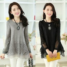 Blouse New Arrival Limited Full O neck Solid Blusas Medium long Loose Sweet Lace Basic Shirt