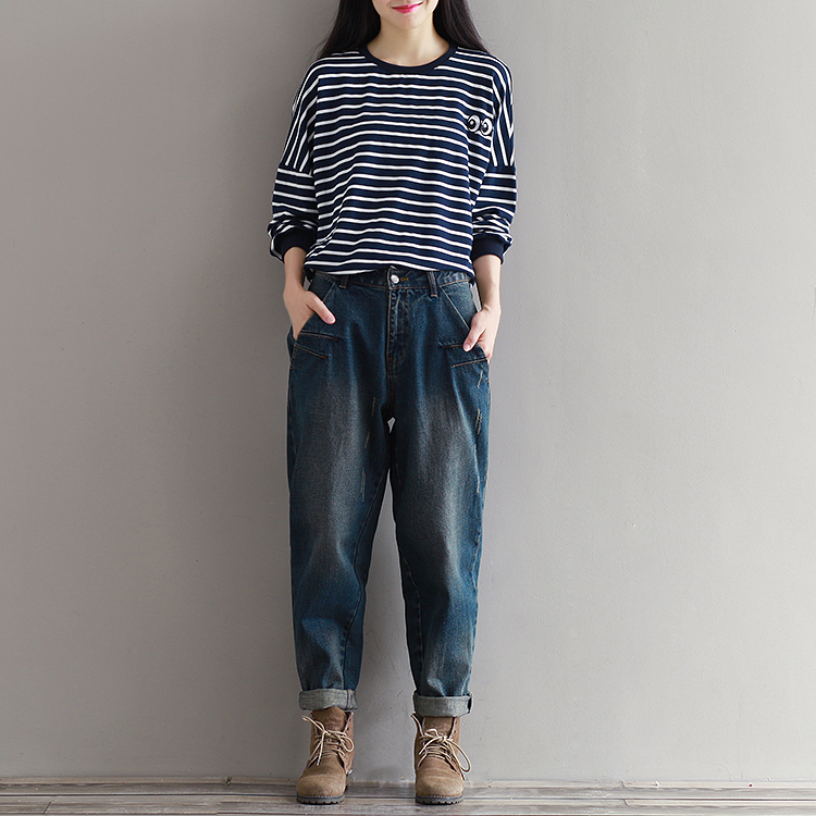 Korean Fashion Plus Size Women Loose Denim Trousers Boyfriend Style Woman  Vintage Baggy Jeans Dark Blue XXXL,in Jeans from Women\u0027s Clothing \u0026  Accessories on