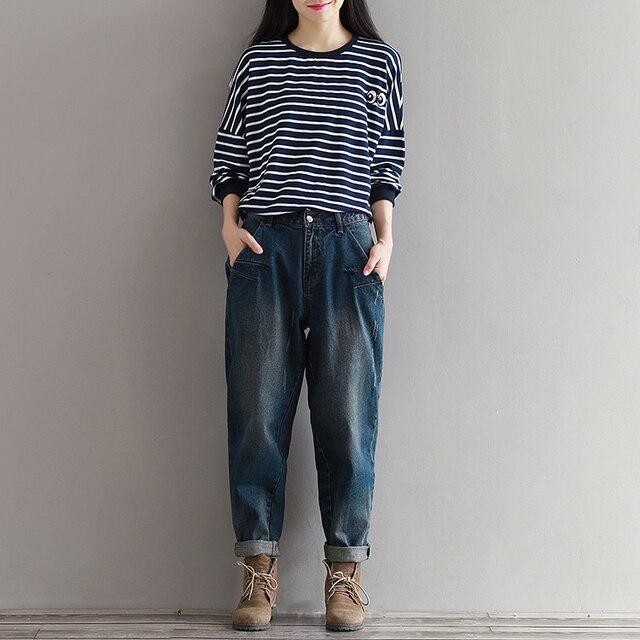 466560f6fde Korean Fashion Plus Size Women Loose Denim Trousers Boyfriend Style Woman  Vintage Baggy Jeans Dark Blue XXXL