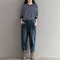 Korean Fashion Plus Size Women Loose Denim Trousers Boyfriend Style Woman Vintage Baggy Jeans Dark Blue XXXL
