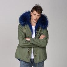 Зеленый модные короткие голубой цвет мужская повседневная одежда реального енота пальто с капюшоном на меху короткие Стиль одежда