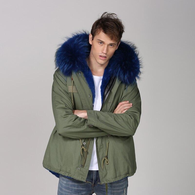 Moda verde Curto Cor Azul Mens Casual Wear Real Raccoon Fur Hoodies Estilo Curto Desgaste