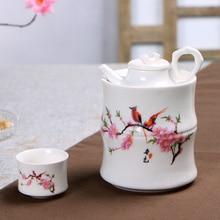 Ceramic Wine Warmer Household Set Chinese  Liquor Sake Yellow Cup Warm Bottle