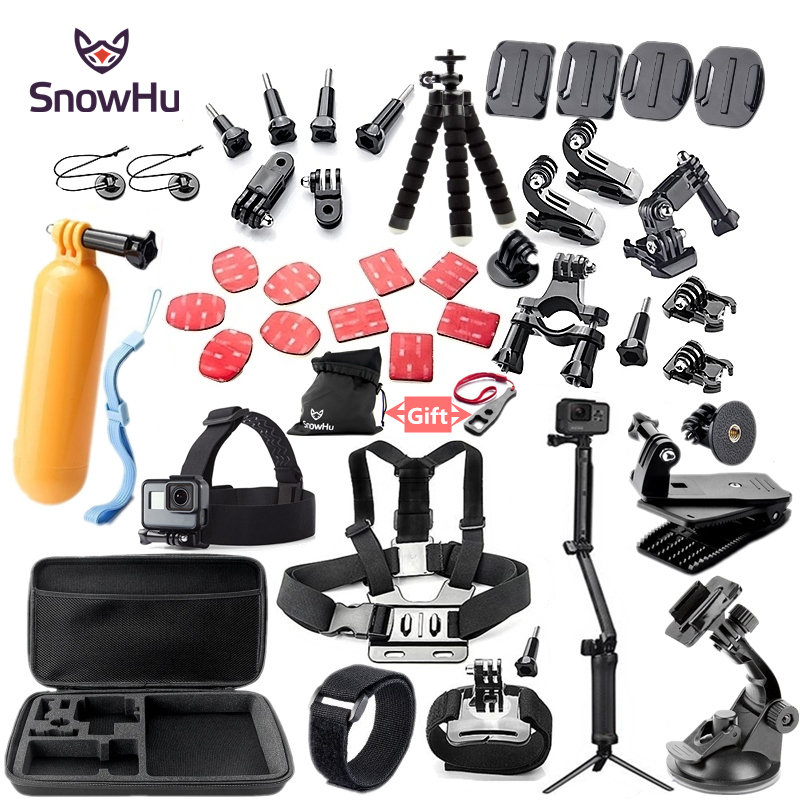SnowHu For Gopro accessories set mount tripod for go pro hero 5 4 3 sjcam sj4000 for Go pro 5 kit for xiaomi yi 4K camera GS52 gopro accessories head belt strap mount adjustable elastic for gopro hero 4 3 2 1 sjcam xiaomi yi camera vp202 free shipping