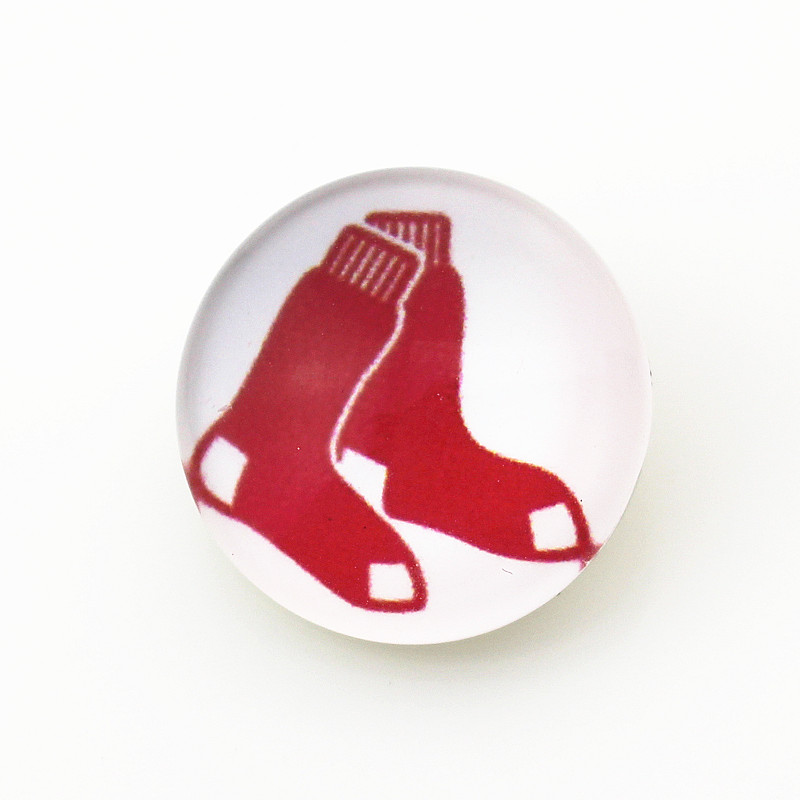 MLB Sports 10pcs/lot Glass Boston Red Sox Baseball Snap Buttons fit 18mm Snap Bracelets&Bangles DIY Snap Necklaces Jewelry