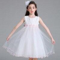 2018 הגעה חדשה קיץ פרח שמלת הילדה הילדים בייבי junior שמלת הכלה אפוד לבן מפלגה ערב אירועים