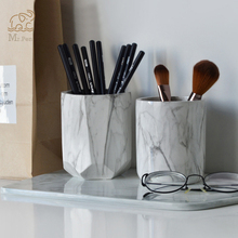 Creative Marble Pen Holder Home Office Desk Decor Business Gifts Makeup Brush Storage Organizer