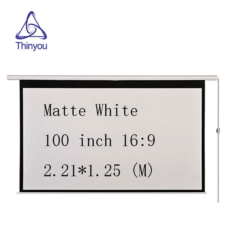 Thinyou 100 inch 16:9 Electric Screen Wireless and wired remote control for LED DLP Projector white Motorized Projector Screen