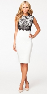 Elegant White Embroidery Black Lace Overlay Pencil Dress 2015 Women Work Wear Office Dress Sexy Dress to Party