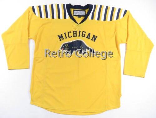 d9d25c9c4 ... michigan wolverines hockey jersey blank plain big ten college hockey  gold white yellow navy go blue
