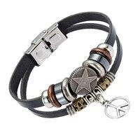 EVERLEAD Vintage Women Leather Bracelet Five Pointed Star And Peace Sign Pendant Charm Beaded Bracelet Men