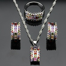 Multicolor Stones Silver Color Jewelry Sets For Women, Christmas Necklace Pendant Earrings Rings