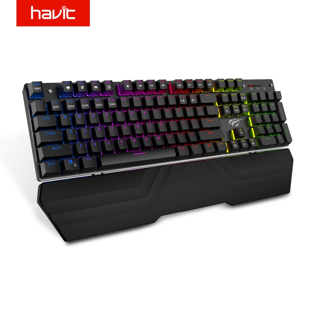 HAVIT Mechanische Tastatur 104 Keys Blue Schalter Wired Gaming Tastatur RGB Licht Anti-Geisterbilder Russische Englisch Tastatur HV-KB432L